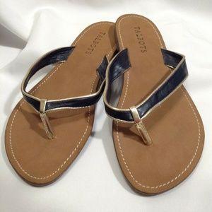 Talbots T Strap Flat Sandals Black & Gold 9M Shoes